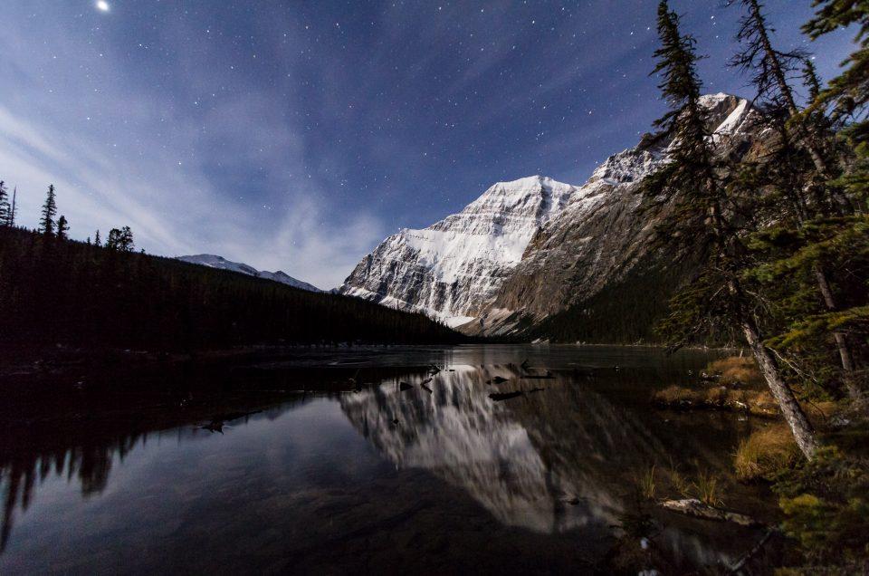 Cavell Lake at night Jasper National Park